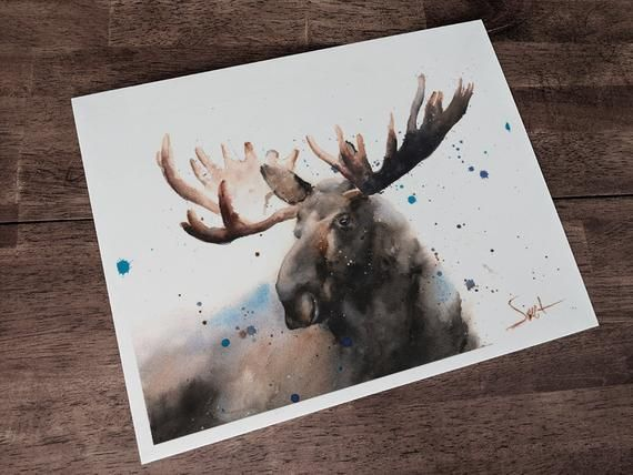Watercolor Moose Print Moose Gifts Moose Decor Moose Wall Art Animal Print Wildlife Print Canadian Moose Painting Moose Art Print Moose Painting Moose Wall Art Wildlife Prints