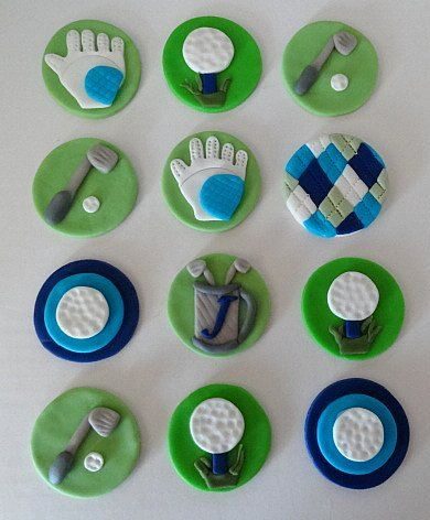 12 Fondant Edible Cupcake/Cookie Toppers - Golf Theme ...