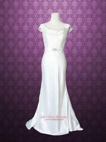 Cowl Neck Modest Transparent Lace Back Slim A-line Wedding Dress - Ieie