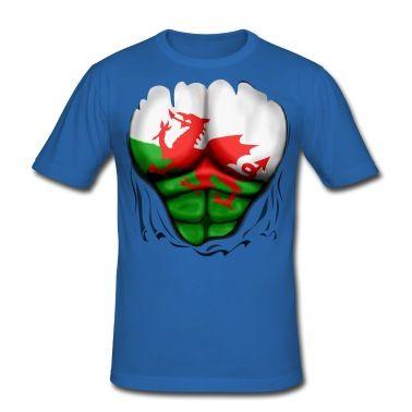 Camiseta País de Gales Bandera Músculos Ruptura  | Spreadshirt | ID: 13963757