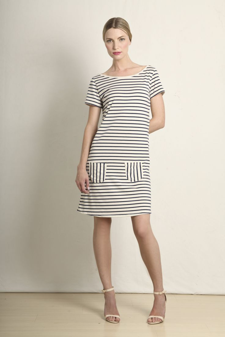 Emmie t-shirt dress in navy and cream stripes  GB199-NCS  R420.00  www.georgieb.com