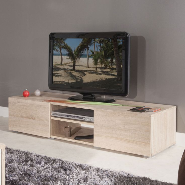 meuble tv 2 niches 2 tiroirs en bois l140xp42xh31cm glossy tvs and ps. Black Bedroom Furniture Sets. Home Design Ideas