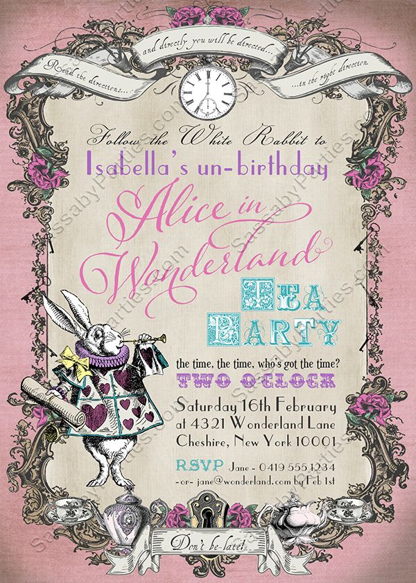 Follow the White Rabbit! It's an Alice in Wonderland Pastel Pink Party Invitation that you can Personalise, Edit & Print Yourself! Suitable for a Birthday, Baby Shower or any occasion!