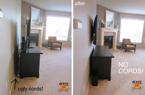 hide tv cords on mounted tv