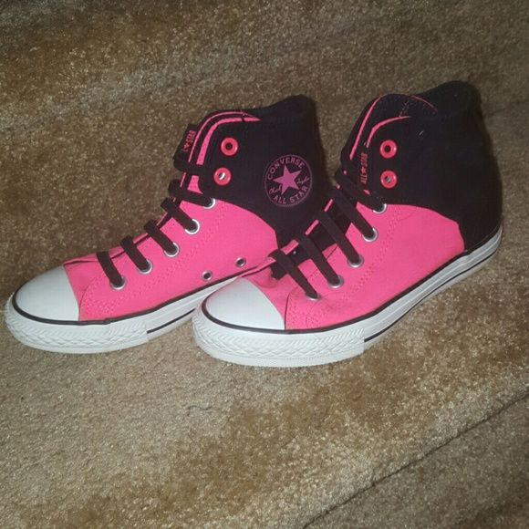 Shoes Converses. Neon pink and black. Instead of shoe laces it is velcro. This is actually kids size 3 bc I have small feet but my sister, who is a size 5/6 in women's, can fit in these. I have worn these a couple times but I have always tried to keep these clean. There are some dirt spots. Converse Shoes Sneakers