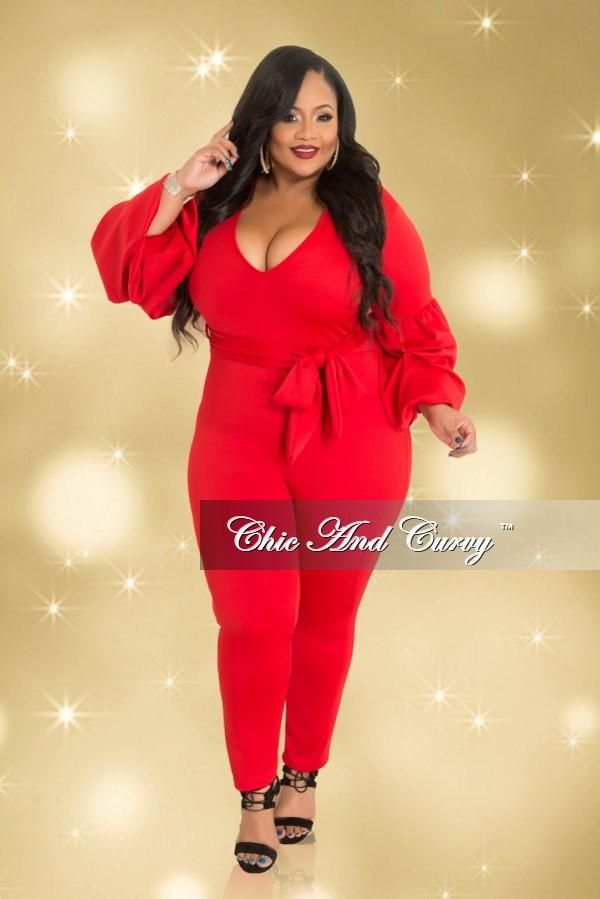 b76d1d0cce1 Plus Size Jumpsuit with Tie and Puff Sleeves in Red (Season – Chic And Curvy