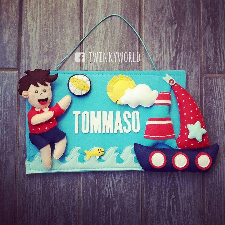 Felt sign - Door  - Name Sign - Tommaso's Room - beach volley - ship