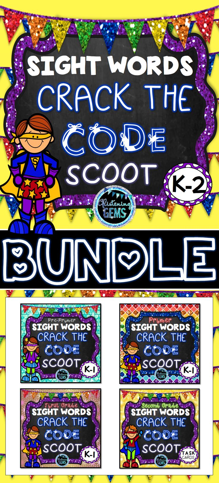 Mystery Code Sight Word Games Bundle includes four sets of task cards: Dolch Pre-Primer, Primer, First and Second Grade Sight Words. Fun way for your children to learn their sight words.