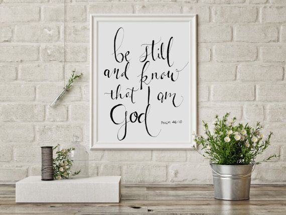 Bible+verse+art+print+Be+Still+and+Know+that+by+HartAndWallDesign