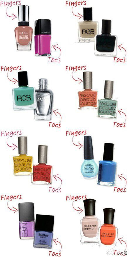 When picking colors that are complementary or contrasting for your finger and toe nails do you need a little help? This chart has some great colors combos to give you direction into what look great together.