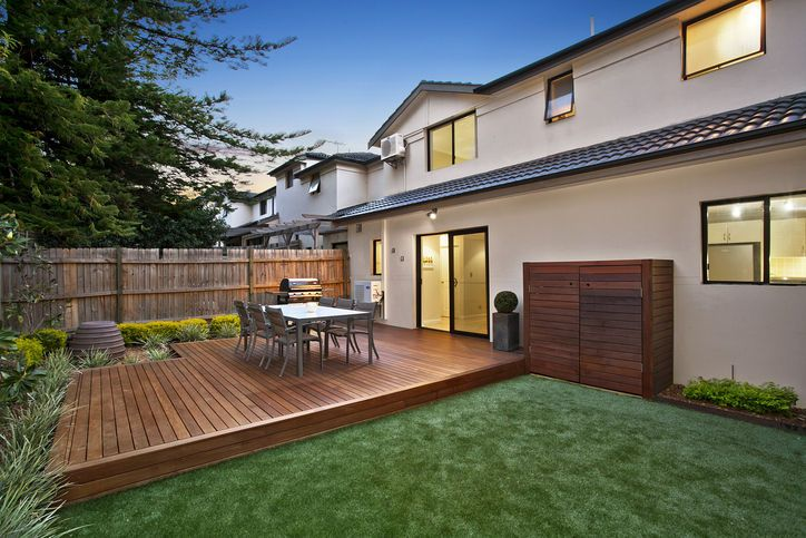 Ironbark hardwood timber deck and storage area