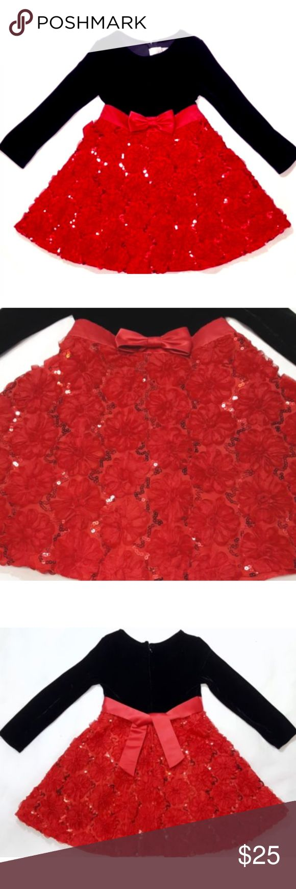 Velvet Sequin Holiday Christmas Party Dress w Bow Iris & Ivy Christmas/holiday party dress  Girls size 5  Black velvet long sleeve bodice Red ribbon band around waist with bow Sash ties in back Red skirt with floral and sequin design Back zipper closure Interior lining and tulle underskirt  Materials Dress/Bodice: 95% Polyester, 5% Spandex Skirt/Band/Bow/Lining/Netting: 100% Polyester iris & ivy Dresses Formal