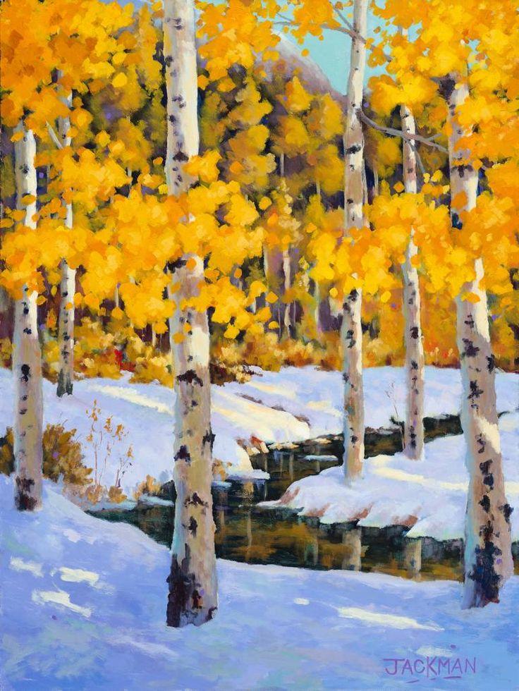 """Fresh Water Creek,"" snowy orange landscape painting by artist Michael Jackman…"