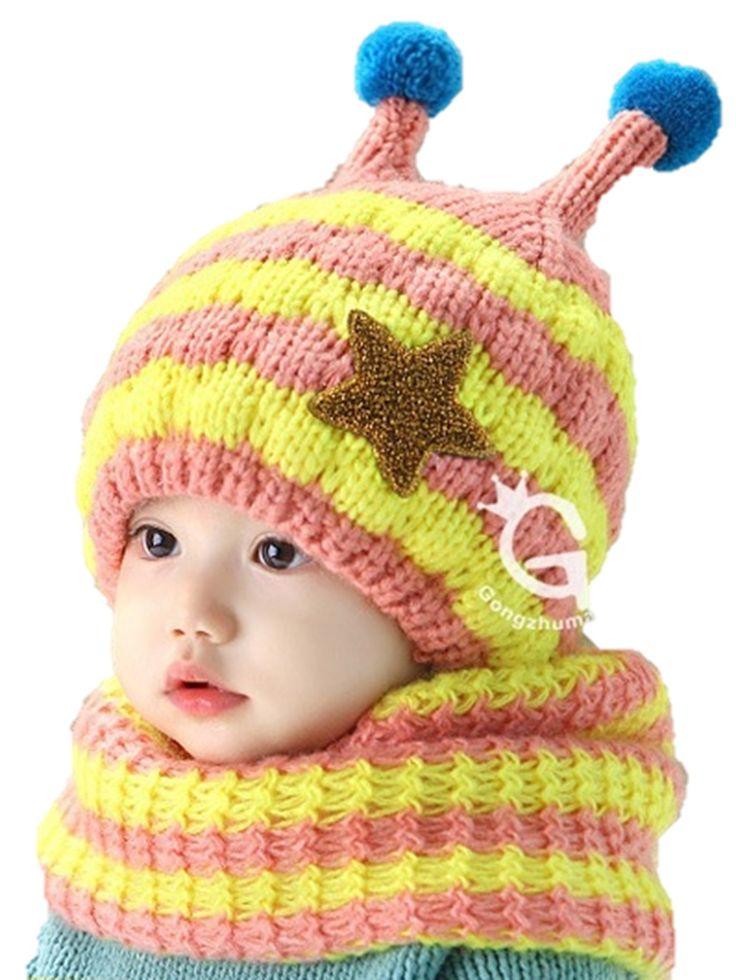 可愛さ爆発 ポンポンニット&ネックウォーマー 帽子 赤ちゃん ベビー キッズ (ピンク)