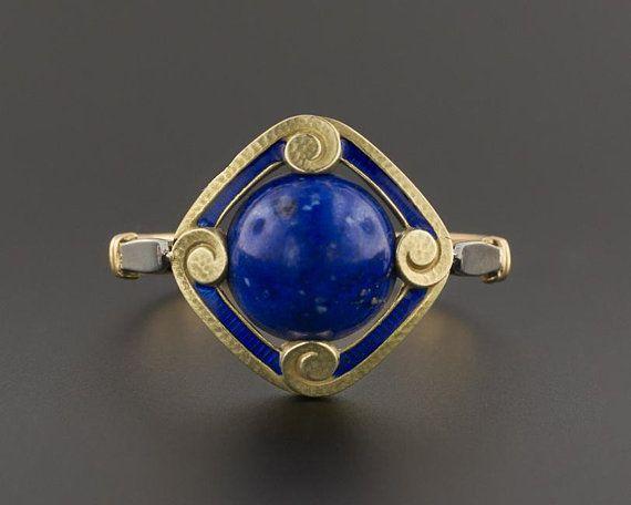 14kt Yellow Gold Vintage Lapis Lazuli Stick Pin