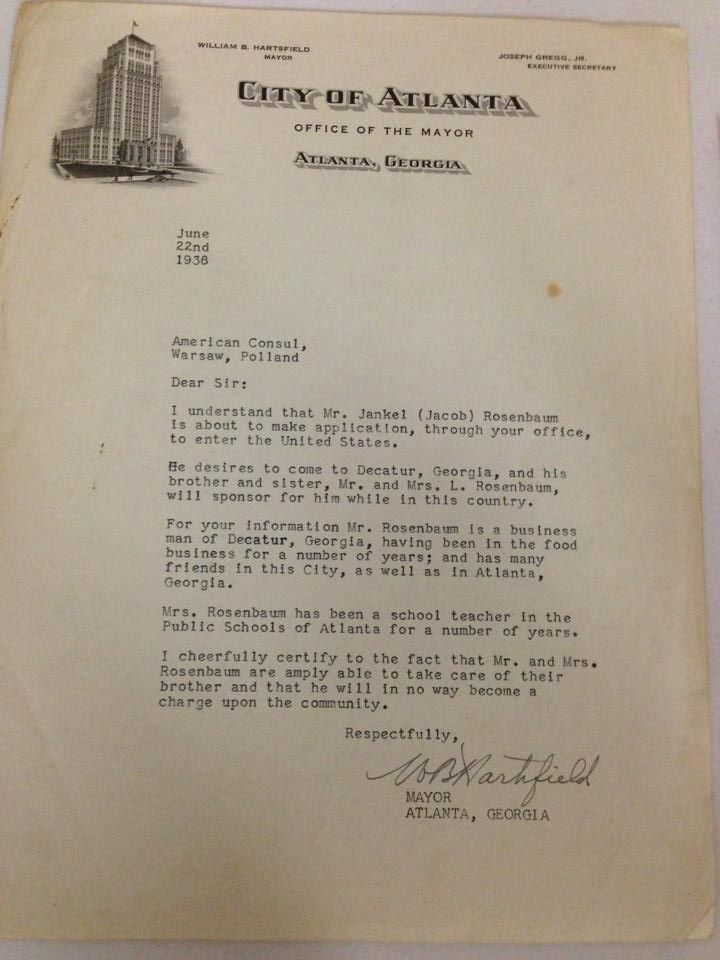 Correspondence from Mayor Hartsfield to the American Consul in Warsaw, Poland, in support of Jewish refugee, Jacob Rosenbaum, to come to Atlanta, 1938.