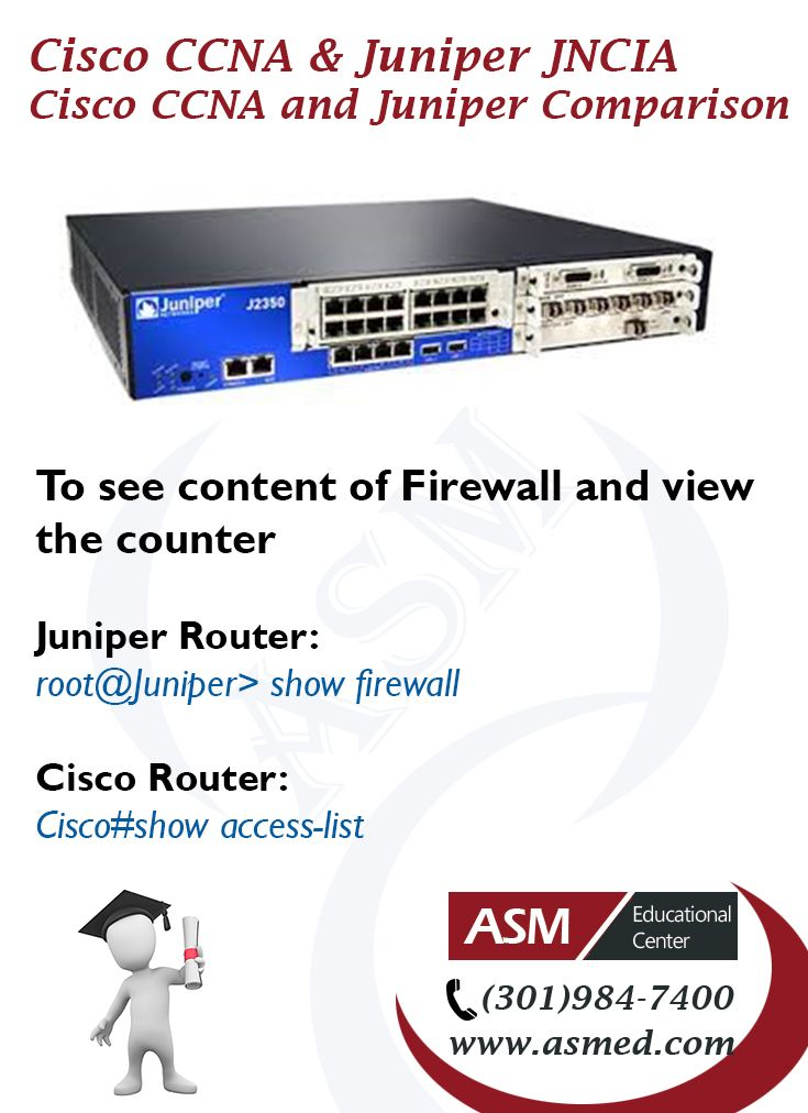 Cisco CCNA and Juniper Junos JNCIA Certification - To see content of Firewall and view the counter. For More info please visit http://asmed.com/juniper