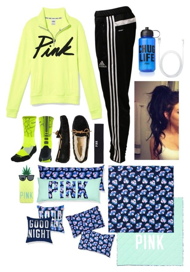 """""""Nighty night"""" by jilian-wubs-u ❤ liked on Polyvore featuring adidas, Victoria's Secret PINK, NIKE, UGG Australia and Victoria's Secret"""