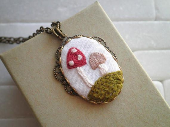 Embroidered Mushroom Necklace Toadstool Diorama Embroidery