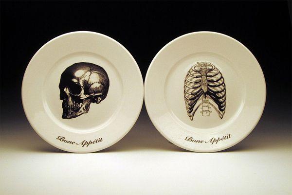 Bone Appétit dinnerware collection: Decor, Bones Skulls, Idea, Plates, Appetit Plate, Kitchen, Bone Appetit, Halloween