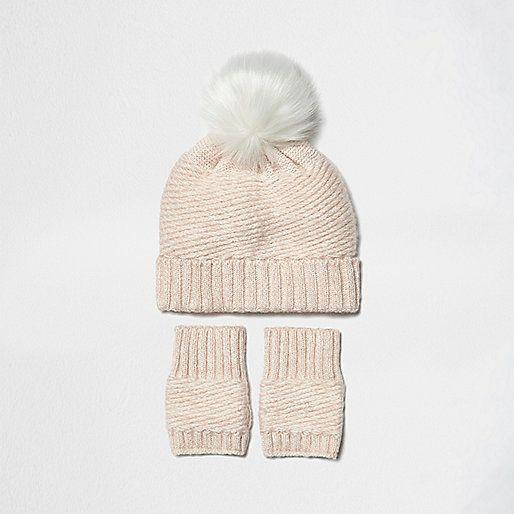Mini girls pink bobble hat and handwarmers - baby girls accessories - mini girls - girls