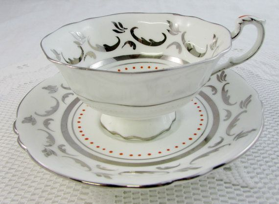 Paragon Silver and Red Tea Cup and Saucer Vintage by TheAcreage