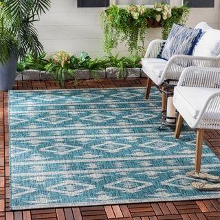 Safavieh Courtyard Jerri Boho Moroccan Indoor/ Outdoor Rug (2'3″ x 14′ Runner – Grey/Navy), Gray