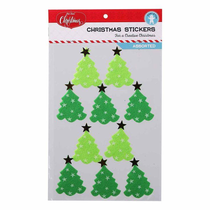 Art Star Felt Christmas Tree Stickers 10pc | Riot Art and Craft