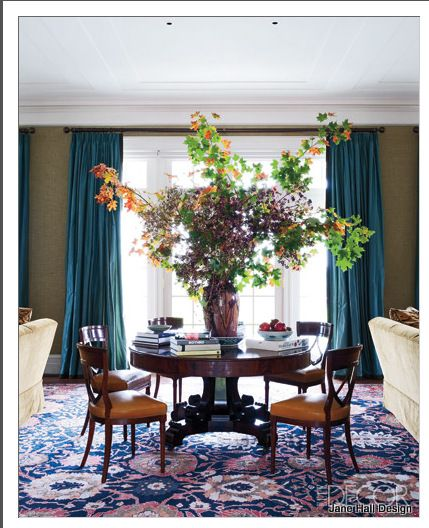 Teal Blue And Sage Green Walls In A Traditional Style Dining Room