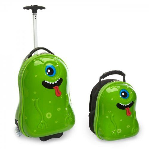 Travel Buddies Archie Alien (Green) (18H x 12W x 10D) Color: Green. Size: 18H x 12W x 10D. Childrens luggage set. Contains hard shell 18 wheeled case & matching 13 hardshell back back for. Wheeled luggage weighs 5lb. Matching back pack 1.5lb. Light weight easy to carry. Wheeled Luggage: carry handle and ajustable height pull strap so great for kids and parents too!.  #Trendykid #Apparel