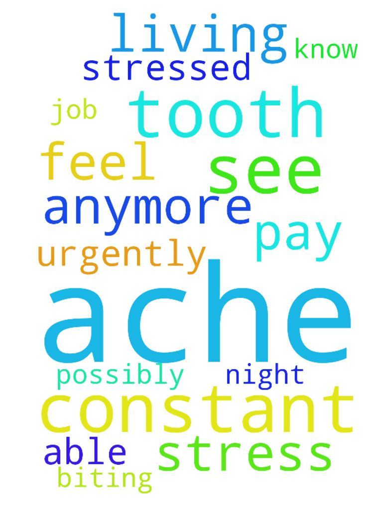 Lord, you see that I have this constant tooth ache - Lord, you see that I have this constant tooth ache possibly from stress biting during the night. I just dont know anymore what to do. Lord I do urgently need a job to be able to pay my living. I feel so stressed out. Posted at: https://prayerrequest.com/t/tx7 #pray #prayer #request #prayerrequest