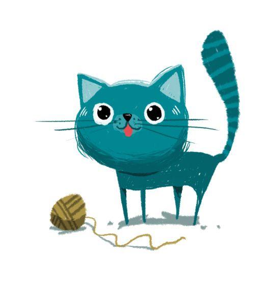 Blue cat illustration by Oscar Chavez. Alquinta | Flickr