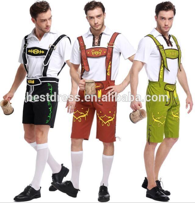 walson Mens German Bavarian Oktoberfest Beer Maid Fancy Dress Costume Lederhosen 3 colors