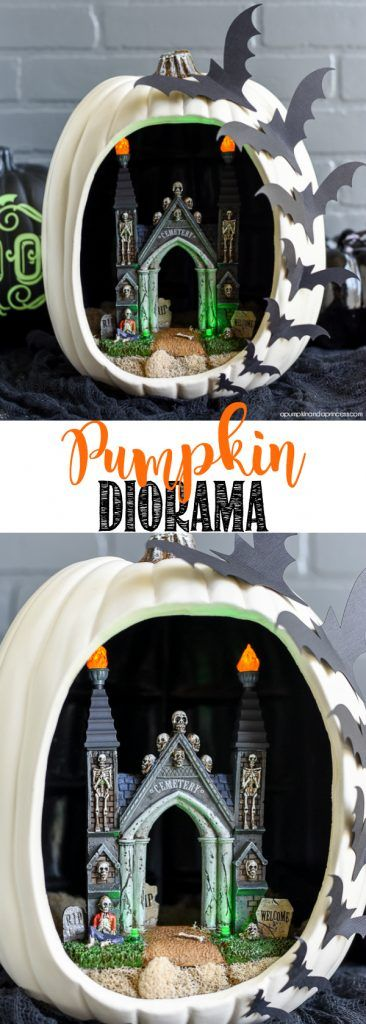 DIY Pumpkin Diorama - create a spooky graveyard entrance pumpkin diorama with…