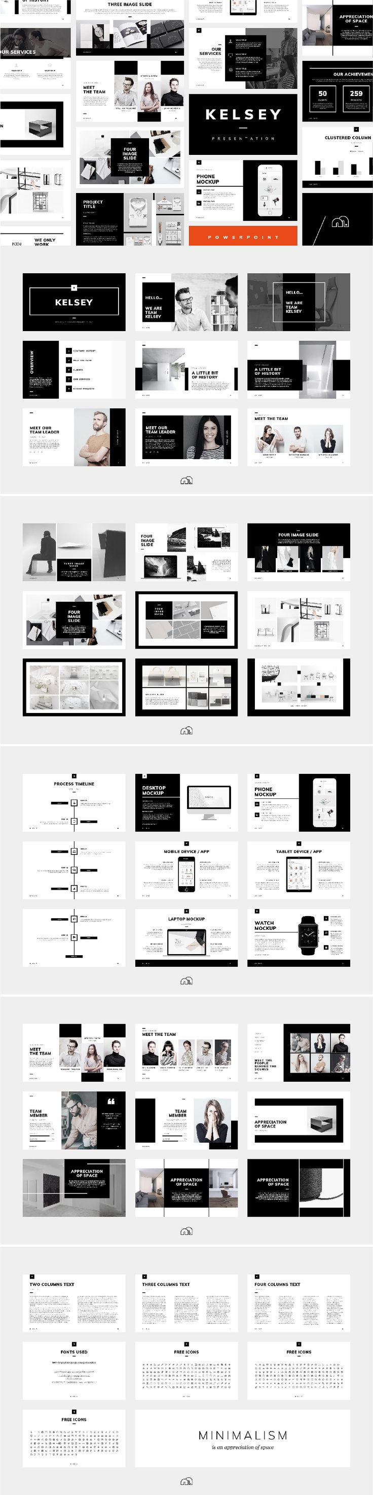 PowerPoint Template - Kelsey For those looking for a professional presentation, 'Kelsey' offers a beautifully minimal​ design packed with a wealth of features. Built with the creative industries in mind, but can be fully customised to suit any business or industry. #PowerPoint #template #keynote