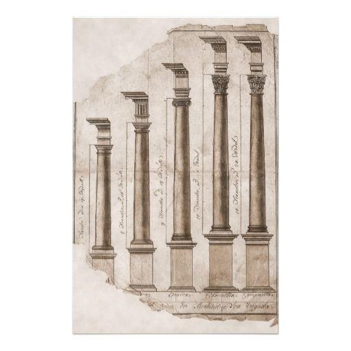 Ancient Roman Columns Architectural Illustration Stationery Columns