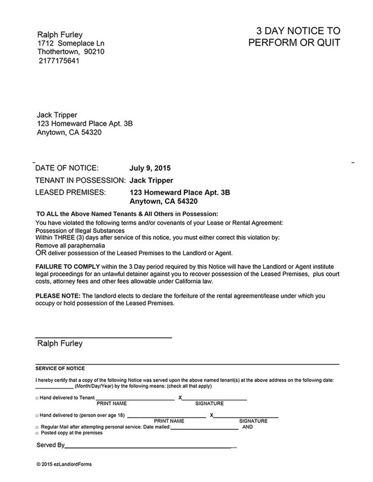 California 3 Day Notice to Perform or Quit | EZ Landlord Forms