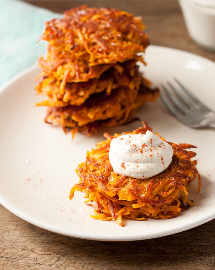 Sweet, smoky, and crisp, these sweet potato latkes are really hard to beat, especially topped with cashew sour cream and applesauce.