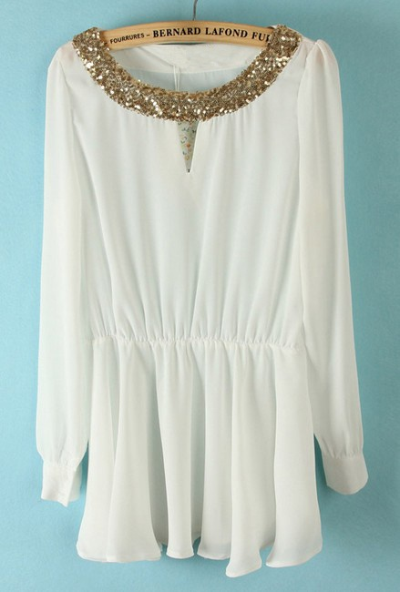 White Long Sleeve Sequined Pleated Chiffon Blouse