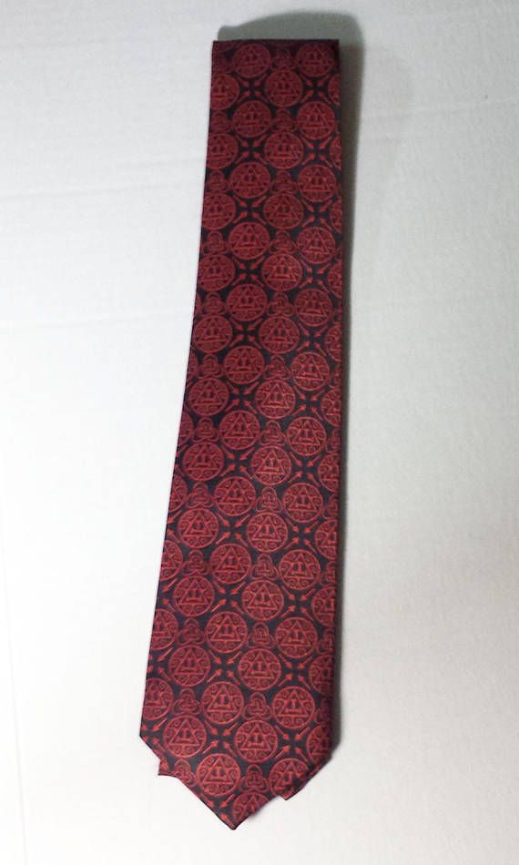 Masonic Regalia Royal Arch black & Red Tie Triple Taus