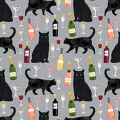 black cat wine fabric cute rose  and cats fabric kitty cat fabric cat lady fabric - grey by petfriendly