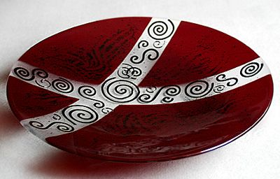 "19"" fused glass bowl"