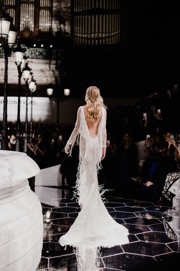 Wedding Day Hairstyles and Inspiration - the perfect boho hair style with a braid and hairpiece detail that leaves a sparkle wherever you go. Wedding dress and hair accessory by international designer, Pronovias