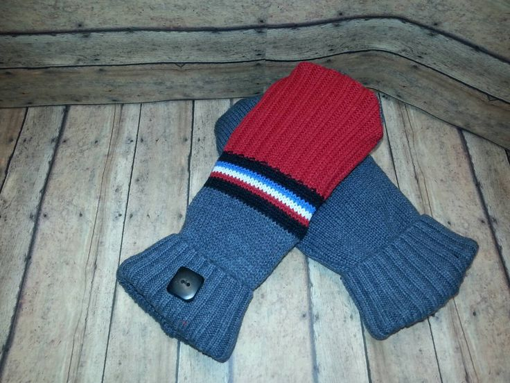 New to KatesHandiwork on Etsy: Ladies Fleece Lined recycled sweater mittens upcycled sweater mittens adult sweater mittens fleece mittens red blue and white mittens (25.00 USD)