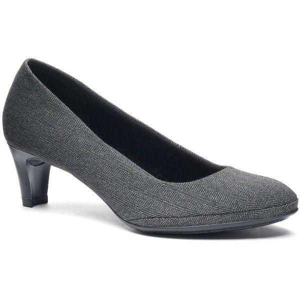 Croft & Barrow® Women's Dress High Heels ($35) ❤ liked on Polyvore featuring shoes, pumps, grey, croft barrow shoes, grey pumps, open toe shoes, slip-on shoes and grey high heel pumps
