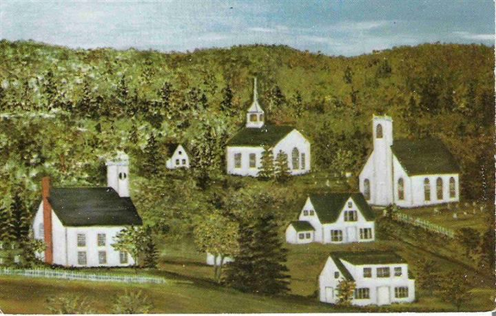 Hand painted postcard of Sandy Cove Nova Scotia, with my Grandparents house centre right.