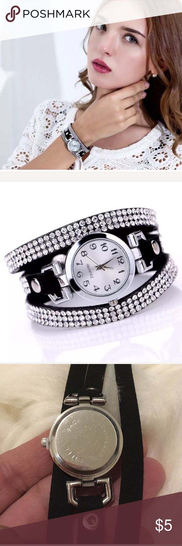 ❌ Stocking Stuffer Black Rhinestone Watch New in Package- Holiday Watch Beautiful & Chic Black Diamond Rhinestone Quartz high pressure suede band- Battery included Boutique Jewelry