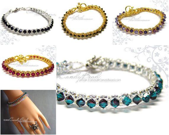 Swarovski Crystal Bracelet  Single Row Bracelet by by candybead