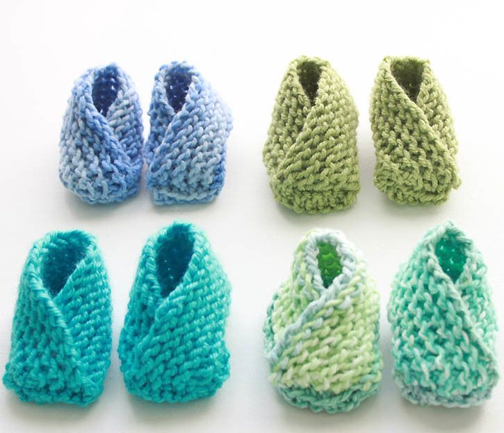 Crossover Knit Baby Booties Pattern | FaveCrafts.com