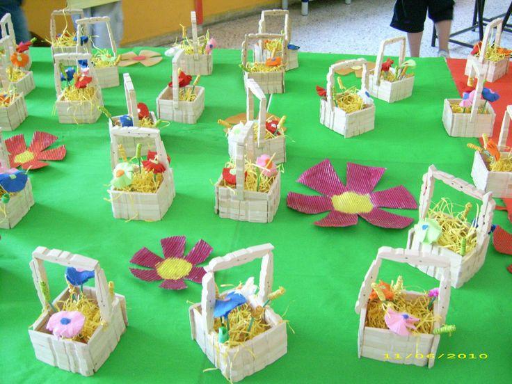 I cestini sono fatti con le mezze mollette di legno 5 per - Fatti di gargoyle per bambini ...
